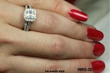 PAVE HALO CUSHION PRINCESS CUT CZ STERLING SILVER ENGAGEMENT RING & WEDDING RING