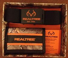 REALTREE Webbing Belt and Nylon Wallet Gift Set ~ Brown or Black ~ New In Box