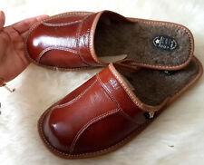 Brown Mens Leather Slippers shoes Size 7 8 9 10 11 12 13 Luxury Flip-Flop mules