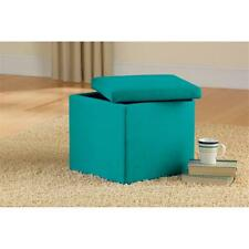 Storage Ottoman Faux Suede Seat Furniture Footstool Brown Bench Table Coffee NEW