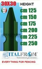 """Green plastic coated steel """"T"""" posts, galvanized wire fencing (packed in 10)"""