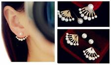 1Pair Pearl Earrings Wild Sexy Scallop Shape Ear Stud Front and Back Earbob