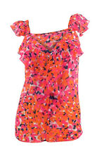 Per Una Pink & Orange Print Sheer Chiffon Strappy Top with Frilled Detail