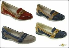 New Ladies Leather Earth Spirit Valdez Slip on Boat Deck Shoes Green Brown Size