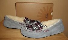 UGG Australia Ansley Studded Plaid Womens Moccasin Slippers Charcoal NIB US 7- 9