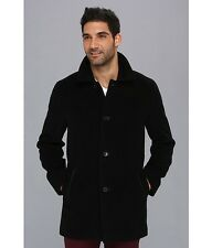 Nwt COLE HAAN Men's Classic Wool Top Coat Jacket Leather Trim $525!