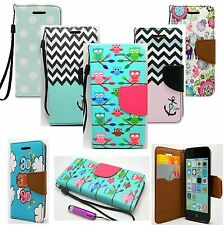 For iPod Touch 5th Gen 5G Flip Wallet PU Leather Hard Case Cover Card Pouch +Pen