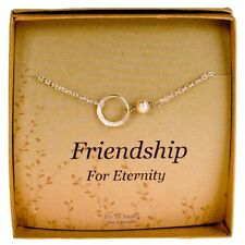Eternity Bracelet Dainty New Pearl Sterling Silver Bridesmaids Gift with Card