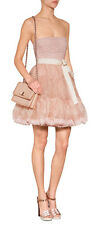 New AUTH Red Valentino Pink Silk Strapless Dress with Tiered Tulle Skirt ONSALE