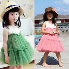 New Summer Kids Girls Sleeveless Cotton Polyester Tulle Lace Princess Dress