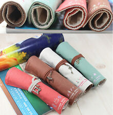 Canvas Wrap Roll Up Stationery Pen Brushes Makeup Pencil Case Pouch Bag Holder