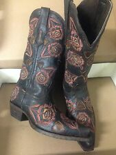 Brand new BLACK w/ inlays womens ladies cowboy boots - SIZE 7 sale pricing!