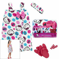 Hello Kitty Dot Spa Wrap Bath Robe Set - Headband Pedicure Flip Flops 5-6 / 7-8