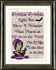 ANTIQUE BOOK PAGE DIGITAL ART PRINT Alice in Wonderland Mad Hatter Twinkle Quote