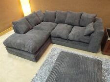 BRAND NEW DYLAN JUMBO CORD DARK GREY FABRIC CORNER GROUP SOFA