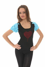 "e.vil Silk Cashmere Heart Sleeve Top  with "" Heart"" Blue Sleeve Sz XS ,M, L"