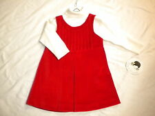 SARAH LOUISE PINAFORE & JUMPER RED/CREAM AGE 12M 18M STYLE 7132