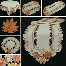 Chestnut Table runner Doily Tablecloth Linen-look Cream Brown Autumn Fall Leaf