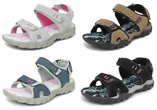 Womens Ladies Sports Sandals PDQ Triple Velcro Cushioned Hiking Trail Shoes 4-8