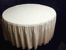 """72"""" Round Pleated Table Cover Skirt Polyester w/ Top Topper tablecloth 18 COLOR"""