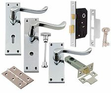 Victorian Polished Chrome Lever Scroll Latch Mortice Lock Hinge Door Handles