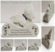 BUTTERFLY ON A ROCK MEMORIAL PLAQUE, GRAVE, CEMETERY, TRIBUTE MUM, DAD NAN ETC.