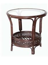 Pelangi Handmade Rattan Wicker Round Coffee Table with Glass Top (3 Colors)