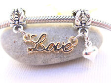 Gold Plated Love Word Tiny Heart Double End Dangle Charm fits Charm Chain Bangle