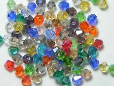 50pcs. Assorted Mixed Color Crystal Glass Bicone Spacer Loose Beads 4mm ✰USA✰