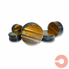 Pair of Tiger's Eye Natural Organic Stone Ear Plugs Tunnels Gauges Expanders
