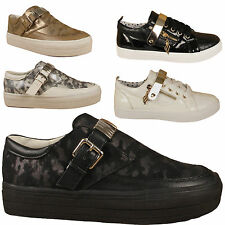 Womens Slip On Platform Trainers  Pumps Casual Ladies Girls Shoes 3 4 5 6 7 8
