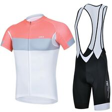 Outdoor Sports Cycling Bike Bicycle Wear Short Sleeve Jersey + Bib Shorts Pink