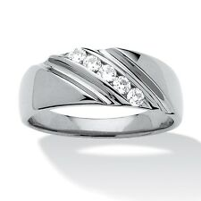 Men's .50 TCW Cubic Zirconia Diagonal Ring In Platinum over .925 Sterling Silver
