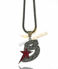 Iced Out Gunmetal THE GAMEs BLACK WALL STREET BWS Hip Hop Pendant Necklace Chain