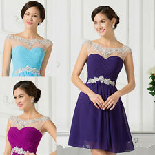 2015 SHORT Purple Chiffon Ball Cocktail EVENING GRAD Prom Party Dress Plus Size