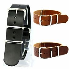20/22mm Brown/Black Watch Band Leather Watch Strap Wrist Watch Band Replacement