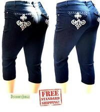 1826 Women's premium PLUS SIZE Stretch Denim JEANS CAPRI BLUE & BLACK PC-2687