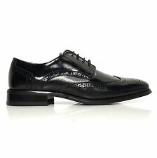 La Milano Men's Leather Round Toe Wing Tip Oxford Dress Shoes Style F590 Black