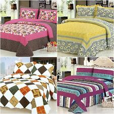 Floral Patchwork Quilted Bedspreads Set Queen/King Size Coverlet Bed Linen New