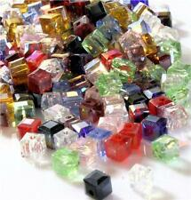 FACETED CRYSTAL GLASS CUBE BEADS  4mm 6mm 8mm COLOUR CHOICE