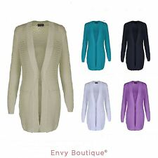 Womens Ladies New Knitted Long Sleeve Cotton Open Jacket Cardigan Plus Sizes
