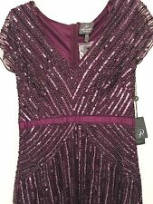 Adrianna Papell 'Love Story' Cap Sleeve V-Neck Sequin Gown Sz 6 and10 - Burgundy