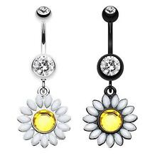 Daisy Marquise Flower Belly Button Ring Dangle Black White Navel Body Jewelry CZ
