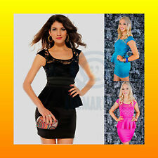 Formal Evening Party Dress Short Sleeve Lace Peplum Sexy Mini Stretch Bodycon