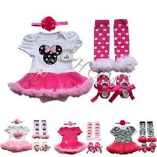 4Pcs Newborn Infant Baby Girls Outfits Tutu Romper Set Birthday Dress Up Clothes