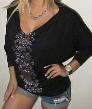 SEXY BLACK RHiNESTONE STUD TRiBAL COWL DRAPE NECK TUNiC LOOSE WOMENS TOP BLOUSE
