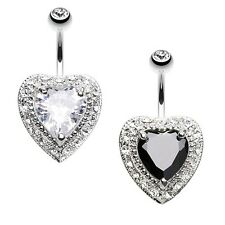 Heart Extravagant Belly Button Ring CZ Clear Black Body Jewelry CZ Banana Gothic