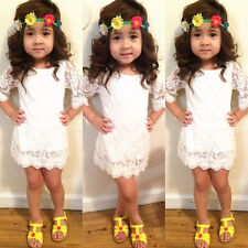 NEW Kids Baby Girls Clothes Skirt White Lace Fancy Tutu Dress Party Dress 2-11Y