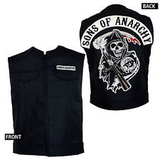 Licensed SONS OF ANARCHY Patch Top Rocker Faux Leather Vest Cut S-4XL NEW