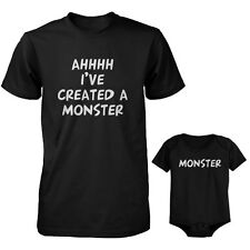 Daddy T-Shirt and Baby Onesie Matching Set - Ahhh I've Created A Monster